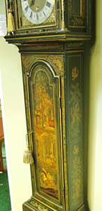 Early 18th century green japanned Longcase Clock