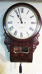 Very rare Striking Mahogany Drop Dial