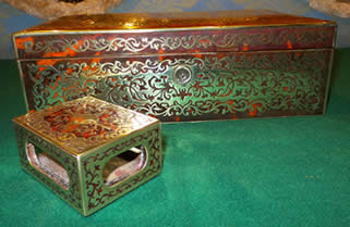 A 17th century scarlet boulle cigar box & matchbox holder