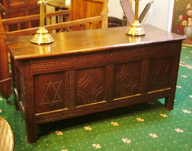 18th cent oak panelled coffer