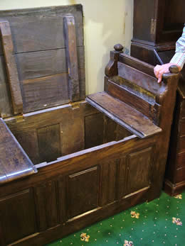 Very rare 17th cent oak monks coffer