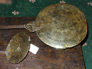 Late 17th century brass Warming Pan and Cream Skinner